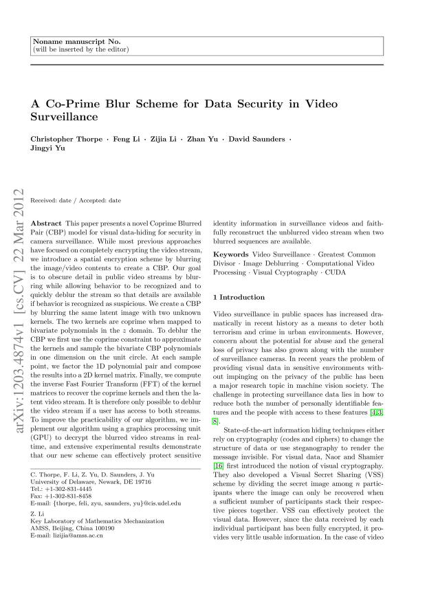 Christopher Thorpe - A Co-Prime Blur Scheme for Data Security in Video Surveillance